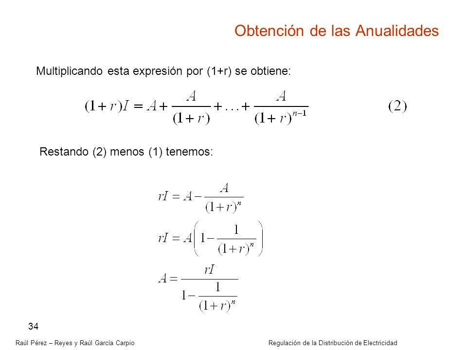 Raúl Pérez – Reyes y Raúl García Carpio Regulación de la Distribución de Electricidad 34 Obtención de las Anualidades Multiplicando esta expresión por