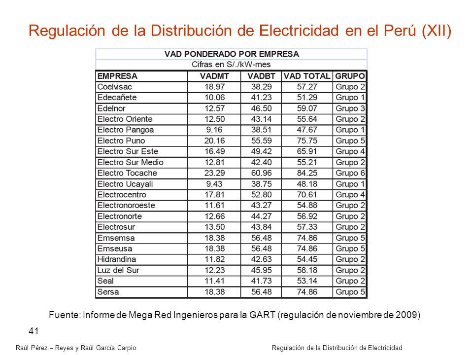 Raúl Pérez – Reyes y Raúl García Carpio Regulación de la Distribución de Electricidad 41 Regulación de la Distribución de Electricidad en el Perú (XII