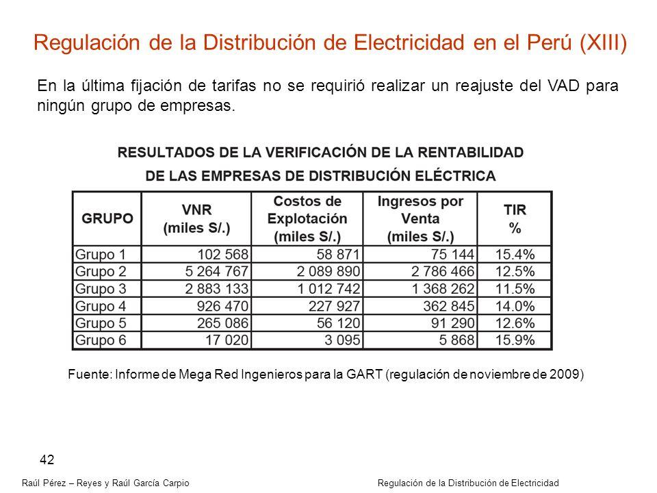Raúl Pérez – Reyes y Raúl García Carpio Regulación de la Distribución de Electricidad 42 Regulación de la Distribución de Electricidad en el Perú (XII