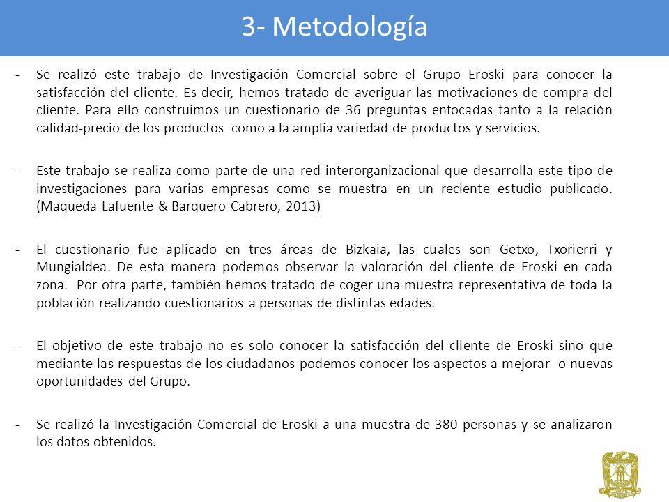 3- Metodología -Se realizó este trabajo de Investigación Comercial sobre el Grupo Eroski para conocer la satisfacción del cliente. Es decir, hemos tra