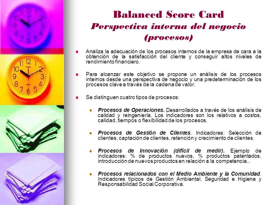 Balanced Score Card Perspectiva interna del negocio (procesos) Analiza la adecuación de los procesos internos de la empresa de cara a la obtención de la satisfacción del cliente y conseguir altos niveles de rendimiento financiero.