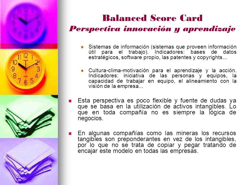 Balanced Score Card Perspectiva innovación y aprendizaje Sistemas de información (sistemas que proveen información útil para el trabajo).