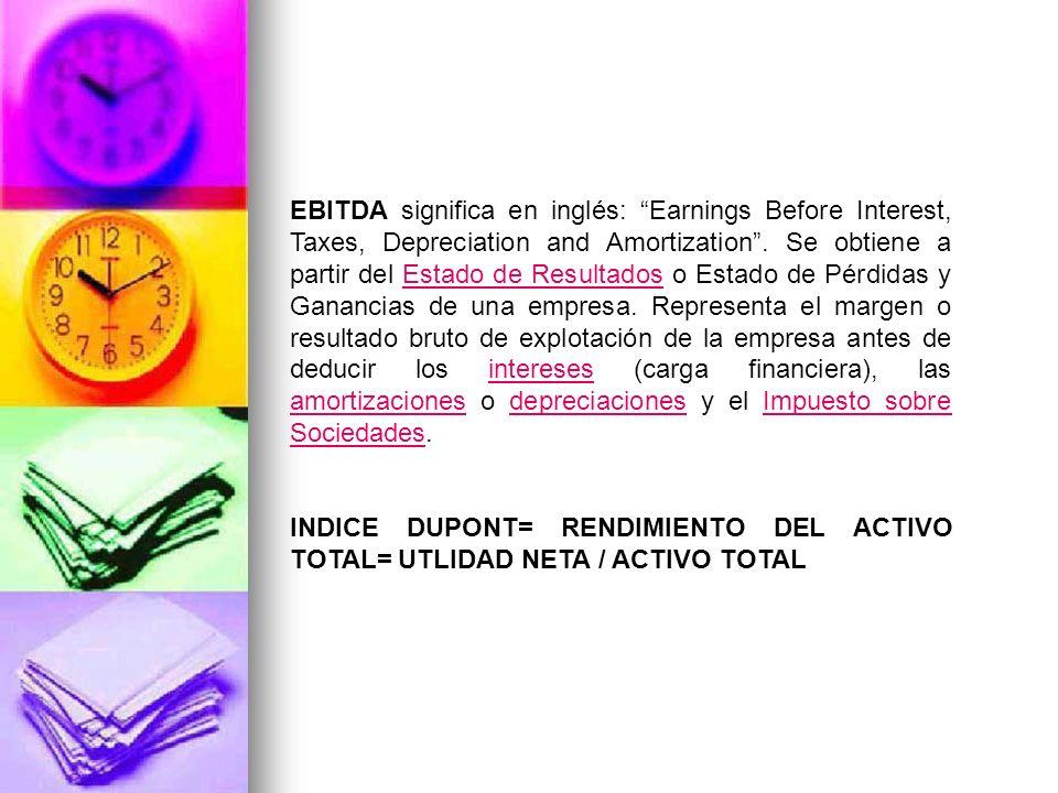 EBITDA significa en inglés: Earnings Before Interest, Taxes, Depreciation and Amortization.