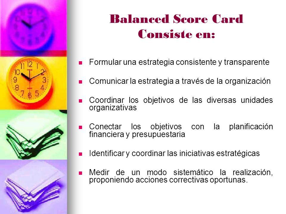 Balanced Score Card Consiste en: Formular una estrategia consistente y transparente Comunicar la estrategia a través de la organización Coordinar los objetivos de las diversas unidades organizativas Conectar los objetivos con la planificación financiera y presupuestaria Identificar y coordinar las iniciativas estratégicas Medir de un modo sistemático la realización, proponiendo acciones correctivas oportunas.