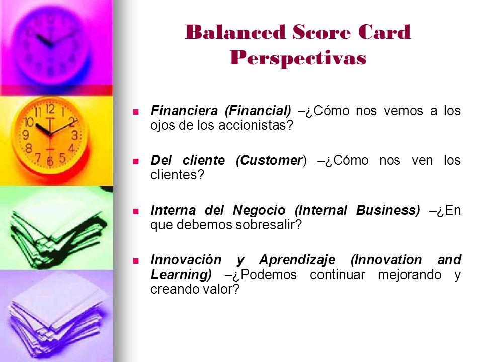 Balanced Score Card Perspectivas Financiera (Financial) –¿Cómo nos vemos a los ojos de los accionistas.