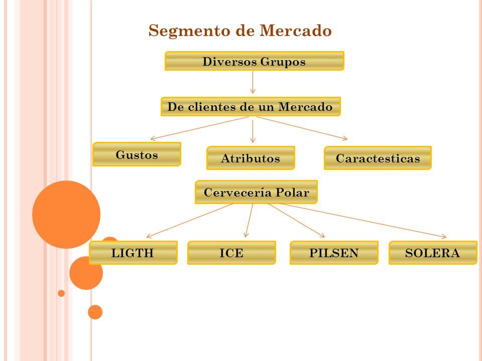 Segmento de Mercado Diversos Grupos De clientes de un Mercado Gustos AtributosCaractesticas Cervecería Polar LIGTHICEPILSENSOLERA