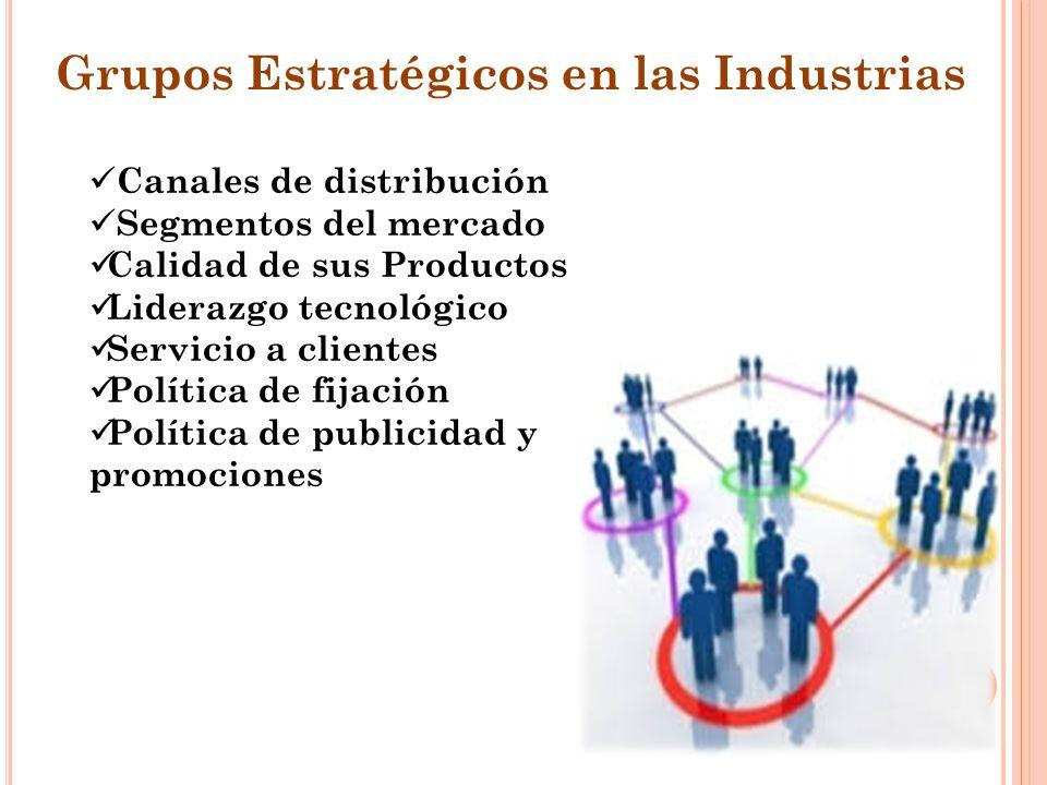Grupos Estratégicos en las Industrias Canales de distribución Segmentos del mercado Calidad de sus Productos Liderazgo tecnológico Servicio a clientes Política de fijación Política de publicidad y promociones