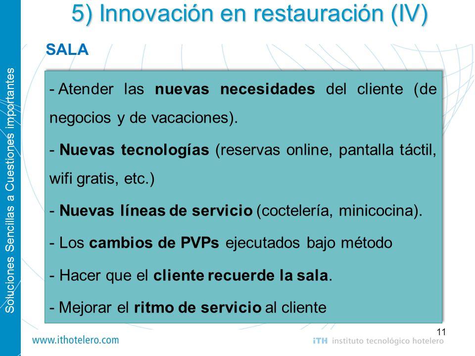 Soluciones Sencillas a Cuestiones importantes 11 5) Innovación en restauración (IV) - Atender las nuevas necesidades del cliente (de negocios y de vac