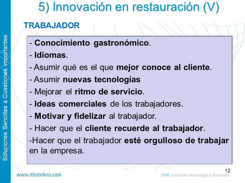 Soluciones Sencillas a Cuestiones importantes 12 5) Innovación en restauración (V) - Conocimiento gastronómico. - Idiomas. - Asumir qué es el que mejo