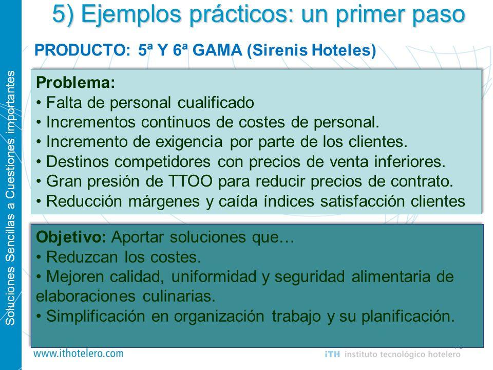 Soluciones Sencillas a Cuestiones importantes 15 5) Ejemplos prácticos: un primer paso PRODUCTO: 5ª Y 6ª GAMA (Sirenis Hoteles) Problema: Falta de per