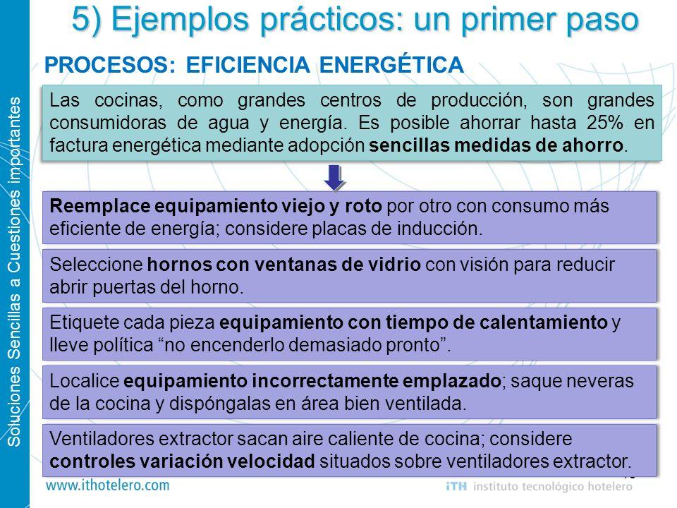 Soluciones Sencillas a Cuestiones importantes 19 5) Ejemplos prácticos: un primer paso PROCESOS: EFICIENCIA ENERGÉTICA Las cocinas, como grandes centr