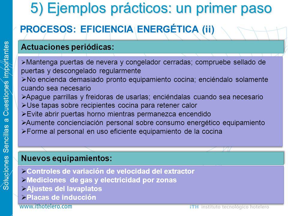 Soluciones Sencillas a Cuestiones importantes 20 5) Ejemplos prácticos: un primer paso PROCESOS: EFICIENCIA ENERGÉTICA (ii) Actuaciones periódicas: Nu