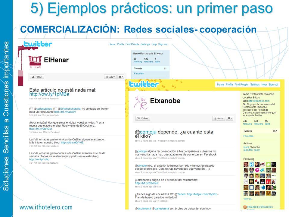 Soluciones Sencillas a Cuestiones importantes 31 5) Ejemplos prácticos: un primer paso COMERCIALIZACIÓN: Redes sociales- cooperación