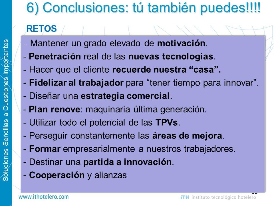 Soluciones Sencillas a Cuestiones importantes 32 6) Conclusiones: tú también puedes!!!! - Mantener un grado elevado de motivación. - Penetración real