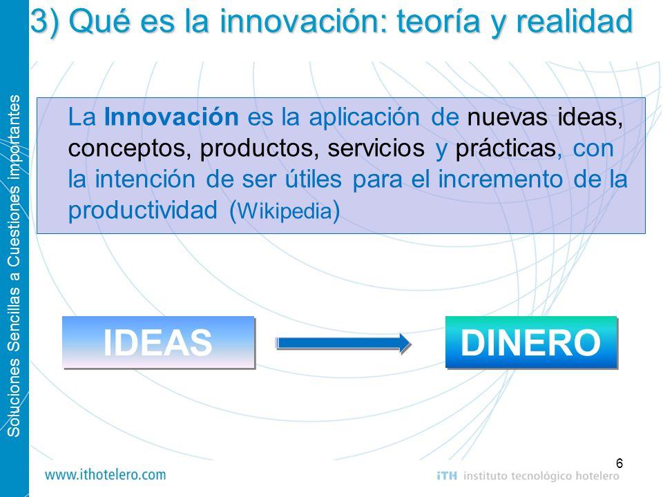 Soluciones Sencillas a Cuestiones importantes 6 3) Qué es la innovación: teoría y realidad La Innovación es la aplicación de nuevas ideas, conceptos,