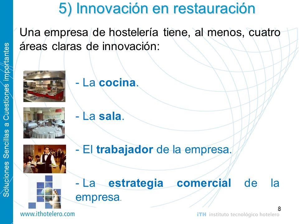 Soluciones Sencillas a Cuestiones importantes 8 5) Innovación en restauración - La cocina. - La sala. - El trabajador de la empresa. - La estrategia c