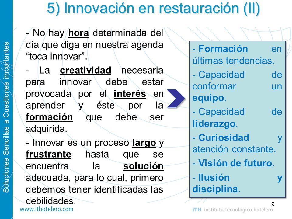 Soluciones Sencillas a Cuestiones importantes 9 5) Innovación en restauración (II) - No hay hora determinada del día que diga en nuestra agenda toca i