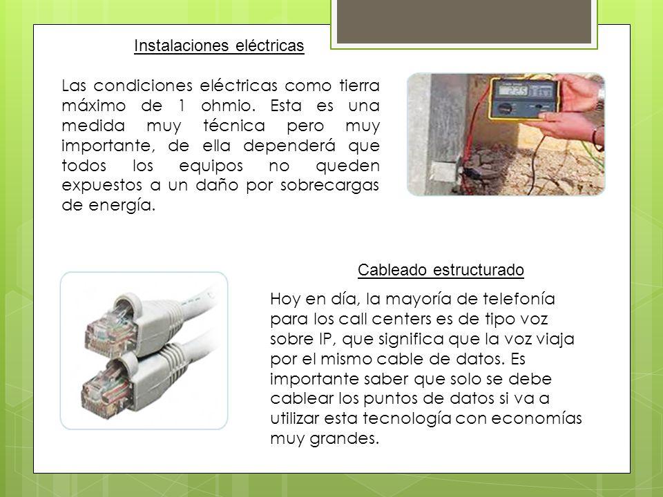 Instalaciones eléctricas Cableado estructurado Las condiciones eléctricas como tierra máximo de 1 ohmio. Esta es una medida muy técnica pero muy impor