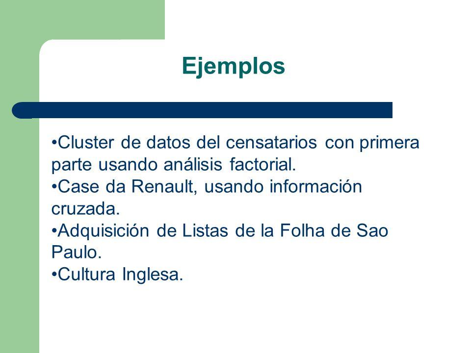 Ejemplos Cluster de datos del censatarios con primera parte usando análisis factorial. Case da Renault, usando información cruzada. Adquisición de Lis