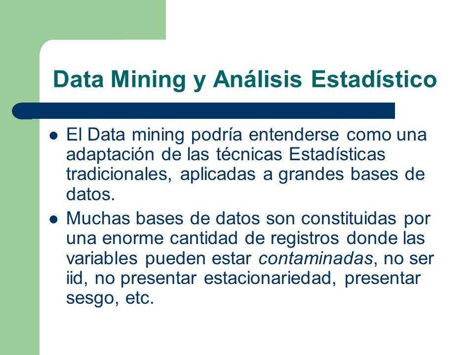 Data Mining y Análisis Estadístico El Data mining podría entenderse como una adaptación de las técnicas Estadísticas tradicionales, aplicadas a grande