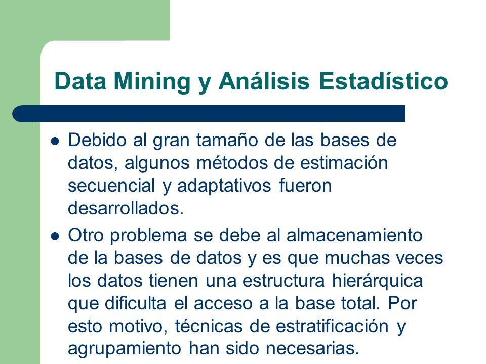 Data Mining y Análisis Estadístico Debido al gran tamaño de las bases de datos, algunos métodos de estimación secuencial y adaptativos fueron desarrol