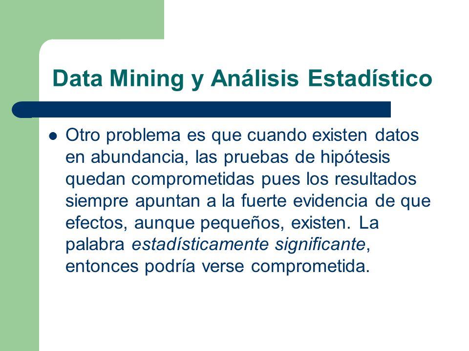 Data Mining y Análisis Estadístico Otro problema es que cuando existen datos en abundancia, las pruebas de hipótesis quedan comprometidas pues los res
