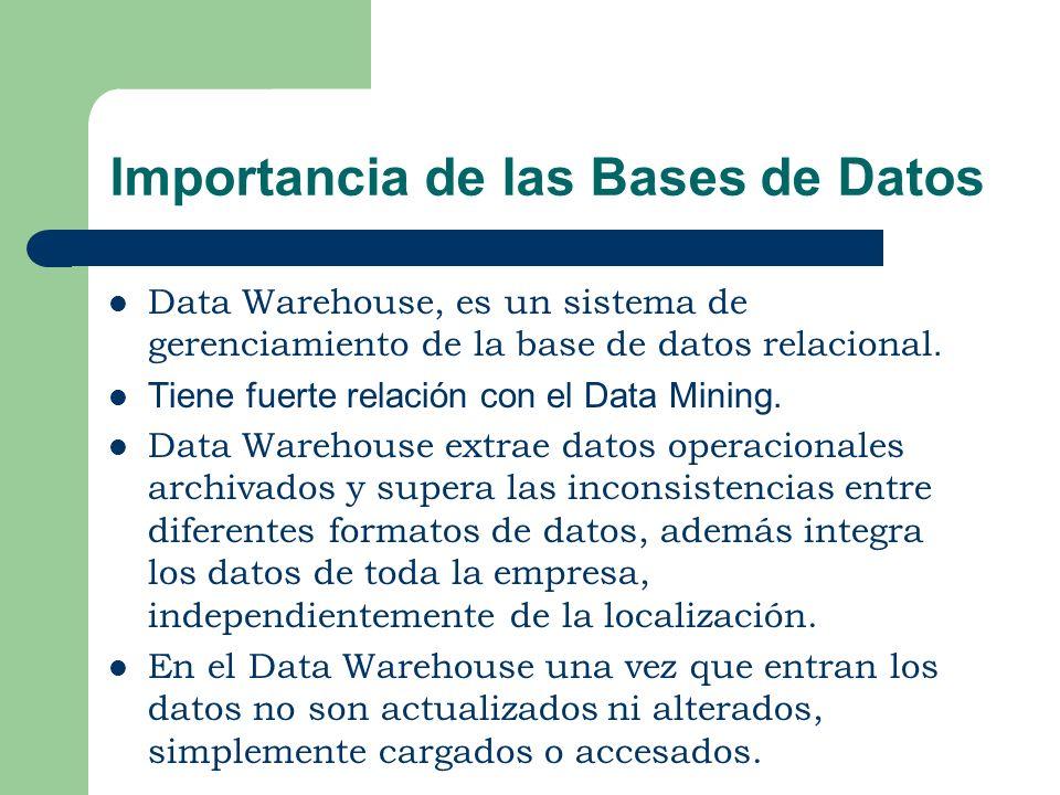 Importancia de las Bases de Datos Data Warehouse, es un sistema de gerenciamiento de la base de datos relacional. Tiene fuerte relación con el Data Mi