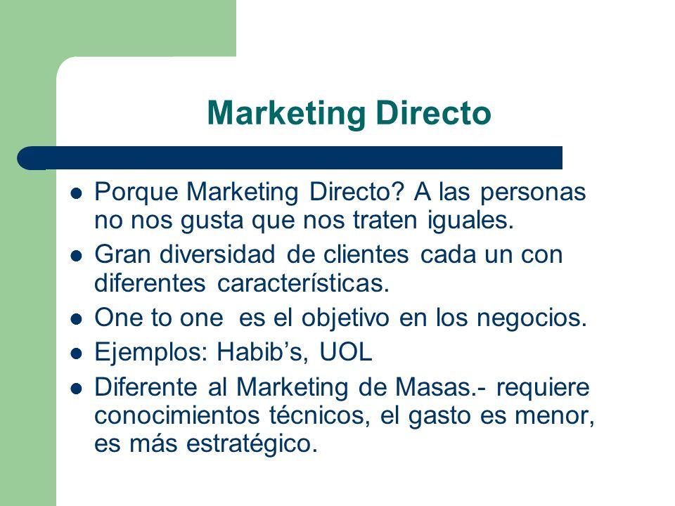 Marketing Directo Porque Marketing Directo? A las personas no nos gusta que nos traten iguales. Gran diversidad de clientes cada un con diferentes car