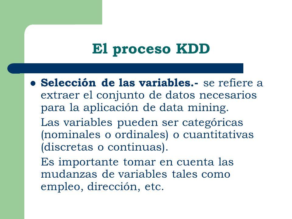 Selección de las variables.- se refiere a extraer el conjunto de datos necesarios para la aplicación de data mining. Las variables pueden ser categóri