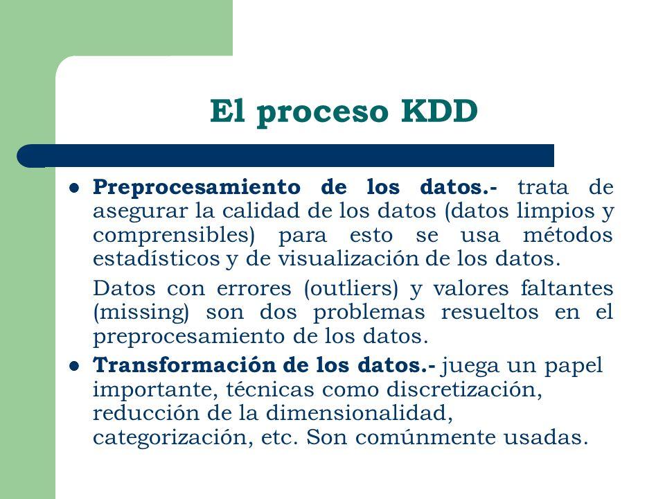 El proceso KDD Preprocesamiento de los datos.- trata de asegurar la calidad de los datos (datos limpios y comprensibles) para esto se usa métodos esta