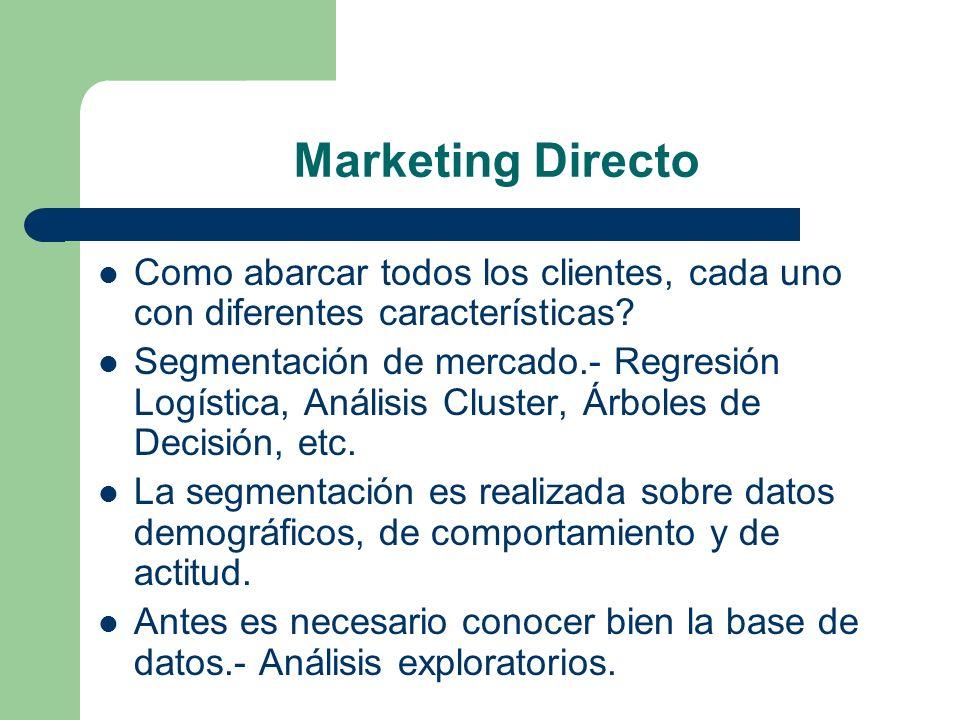 Marketing Directo Como abarcar todos los clientes, cada uno con diferentes características? Segmentación de mercado.- Regresión Logística, Análisis Cl