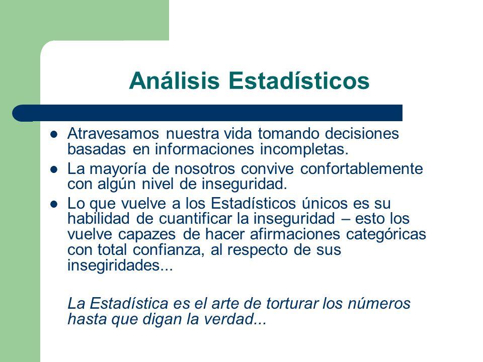 Análisis Estadísticos Atravesamos nuestra vida tomando decisiones basadas en informaciones incompletas. La mayoría de nosotros convive confortablement