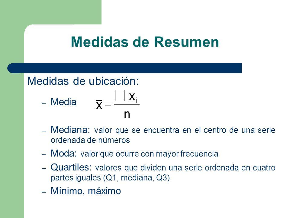 Medidas de Resumen Medidas de ubicación: – Media – Mediana: valor que se encuentra en el centro de una serie ordenada de números – Moda: valor que ocu