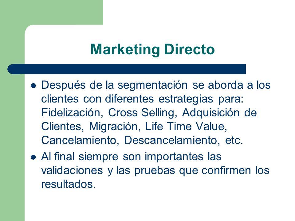 Marketing Directo Después de la segmentación se aborda a los clientes con diferentes estrategias para: Fidelización, Cross Selling, Adquisición de Cli