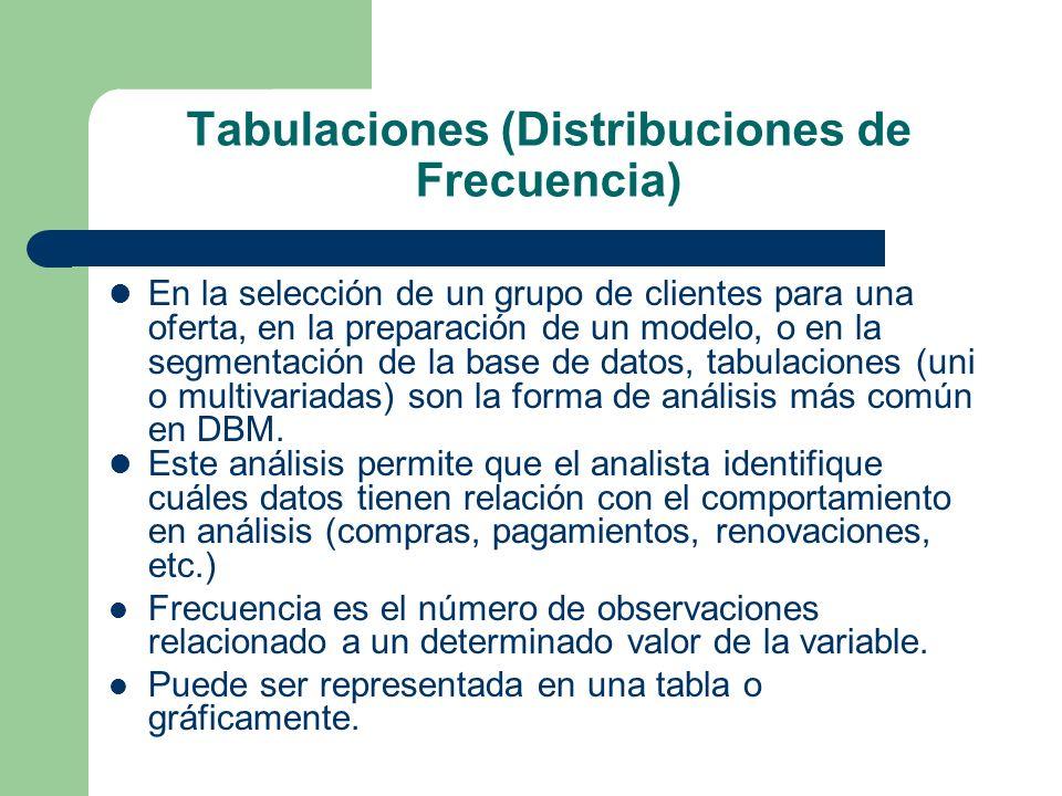 Tabulaciones (Distribuciones de Frecuencia) En la selección de un grupo de clientes para una oferta, en la preparación de un modelo, o en la segmentac