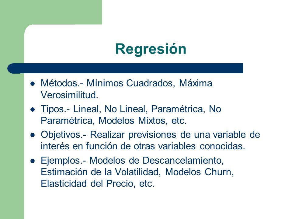 Regresión Métodos.- Mínimos Cuadrados, Máxima Verosimilitud. Tipos.- Lineal, No Lineal, Paramétrica, No Paramétrica, Modelos Mixtos, etc. Objetivos.-