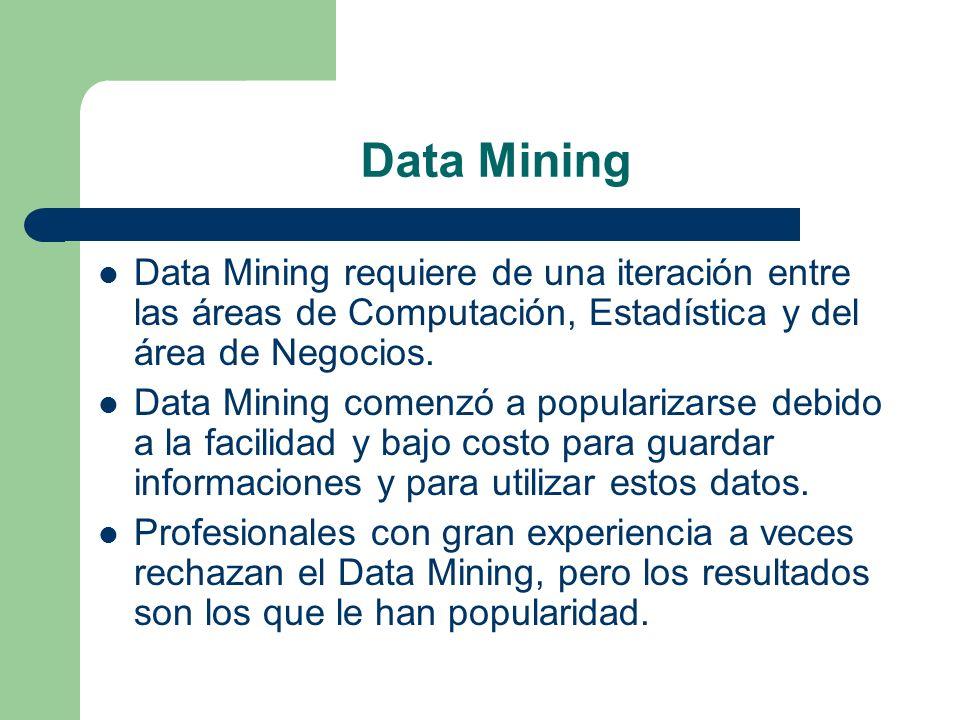Data Mining Data Mining requiere de una iteración entre las áreas de Computación, Estadística y del área de Negocios. Data Mining comenzó a populariza