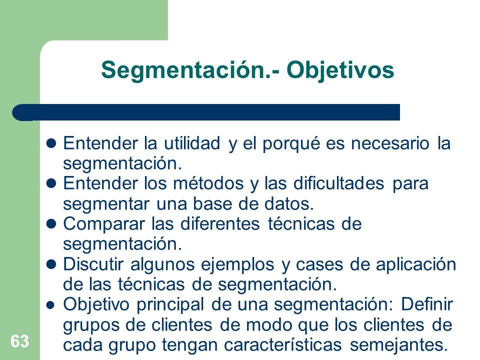 63 Segmentación.- Objetivos Entender la utilidad y el porqué es necesario la segmentación. Entender los métodos y las dificultades para segmentar una