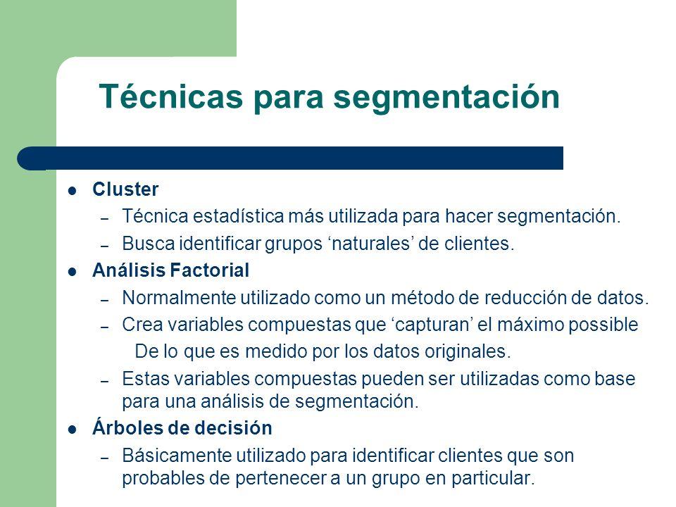 Técnicas para segmentación Cluster – Técnica estadística más utilizada para hacer segmentación. – Busca identificar grupos naturales de clientes. Anál