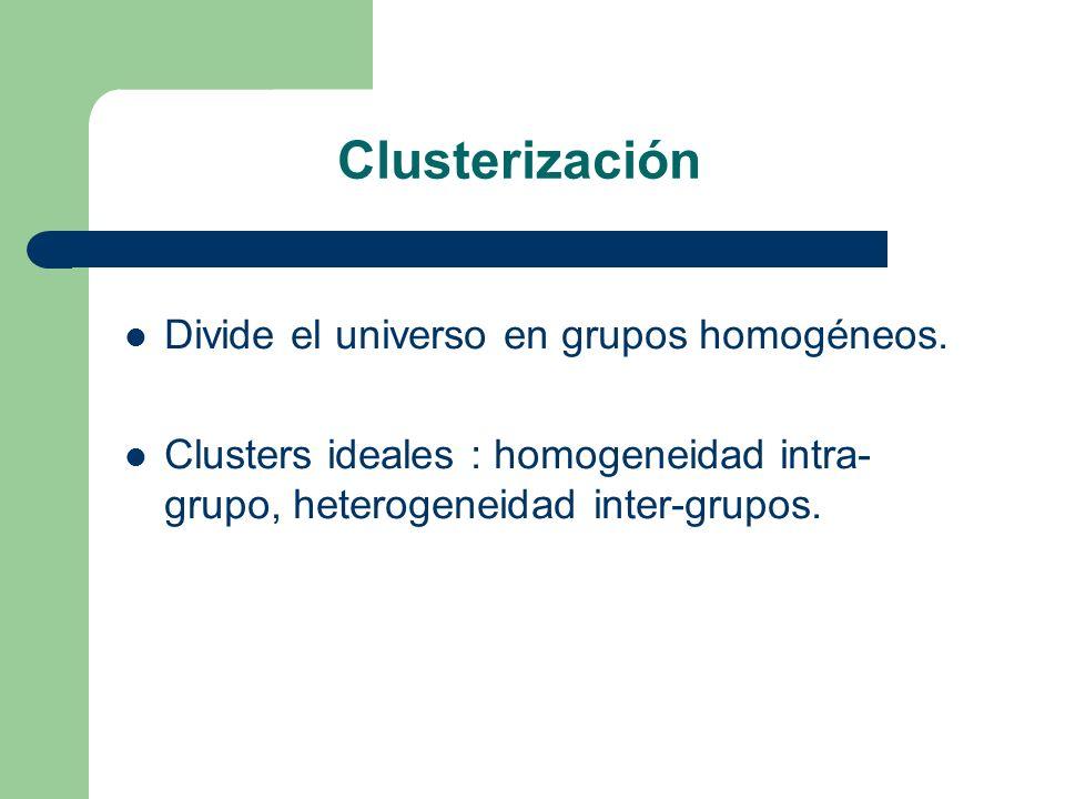 Clusterización Divide el universo en grupos homogéneos. Clusters ideales : homogeneidad intra- grupo, heterogeneidad inter-grupos.