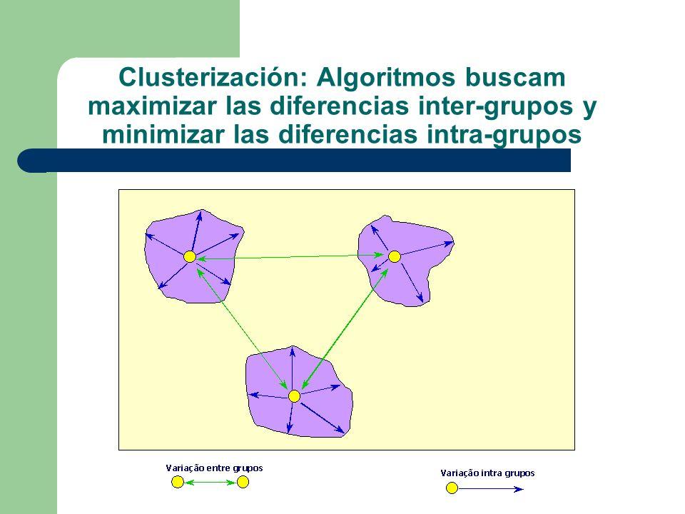 Clusterización: Algoritmos buscam maximizar las diferencias inter-grupos y minimizar las diferencias intra-grupos