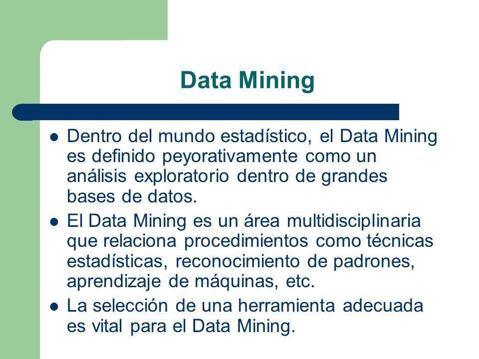 Data Mining Dentro del mundo estadístico, el Data Mining es definido peyorativamente como un análisis exploratorio dentro de grandes bases de datos. E