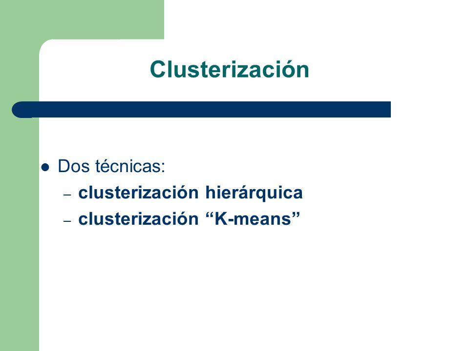 Clusterización Dos técnicas: – clusterización hierárquica – clusterización K-means