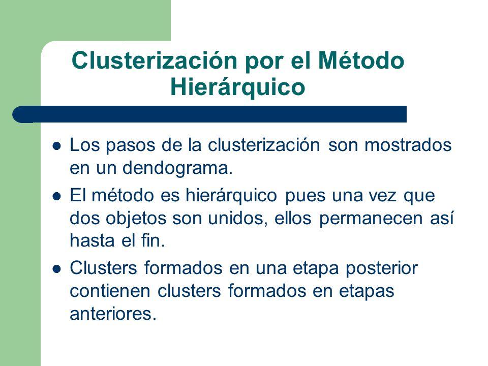Clusterización por el Método Hierárquico Los pasos de la clusterización son mostrados en un dendograma. El método es hierárquico pues una vez que dos