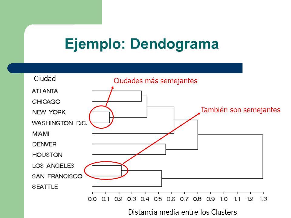 Ejemplo: Dendograma Distancia media entre los Clusters Ciudad Ciudades más semejantes También son semejantes