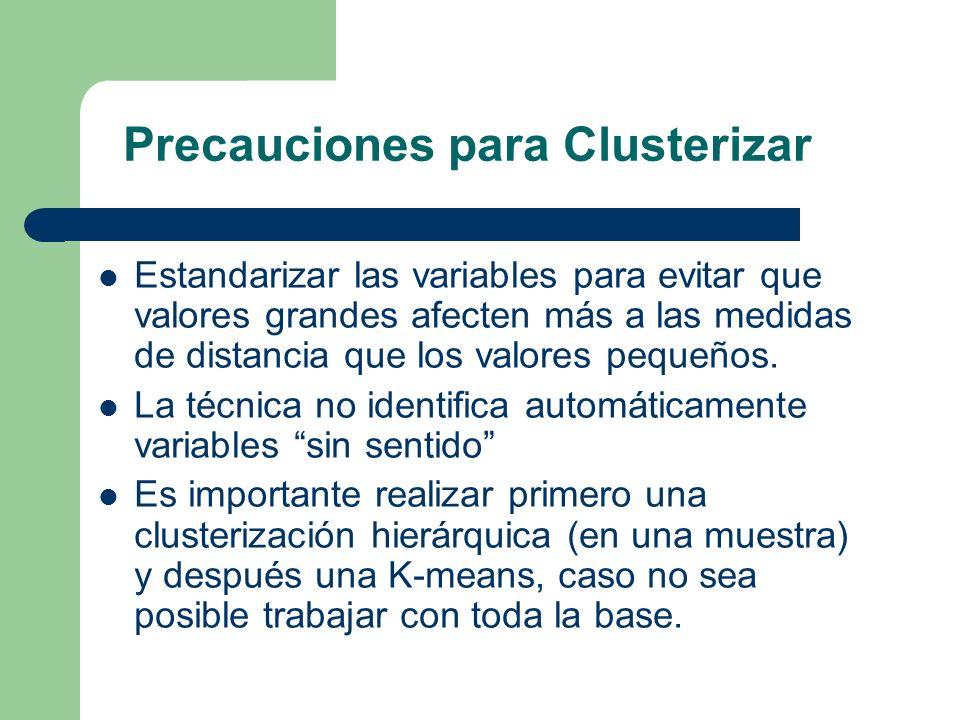 Precauciones para Clusterizar Estandarizar las variables para evitar que valores grandes afecten más a las medidas de distancia que los valores pequeñ