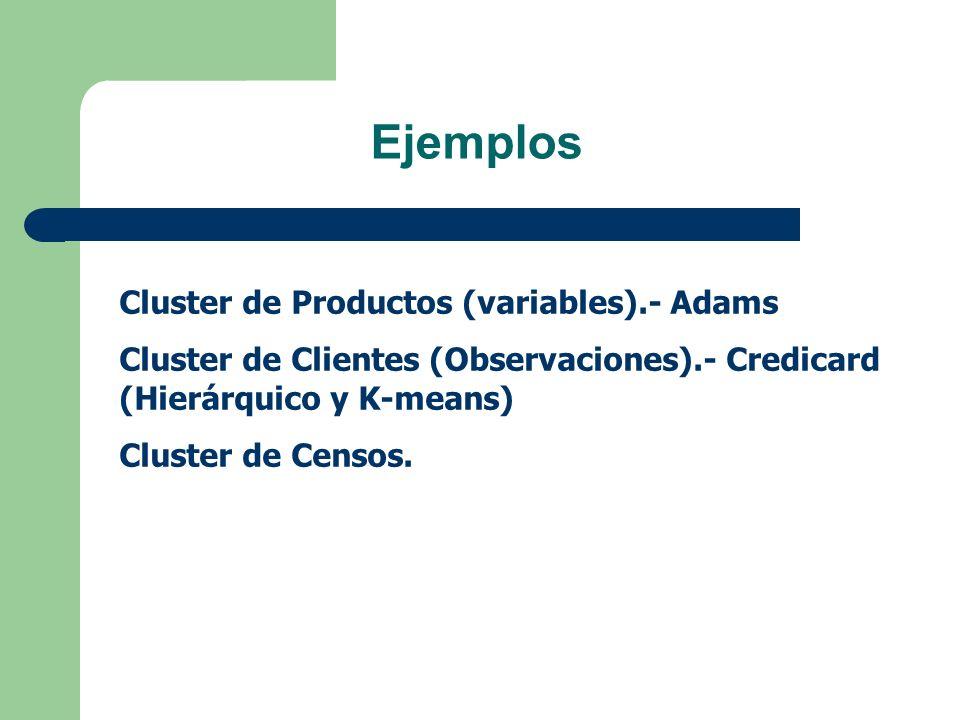 Ejemplos Cluster de Productos (variables).- Adams Cluster de Clientes (Observaciones).- Credicard (Hierárquico y K-means) Cluster de Censos.