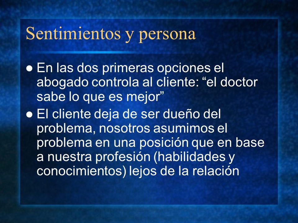 Sentimientos y persona En las dos primeras opciones el abogado controla al cliente: el doctor sabe lo que es mejor El cliente deja de ser dueño del pr