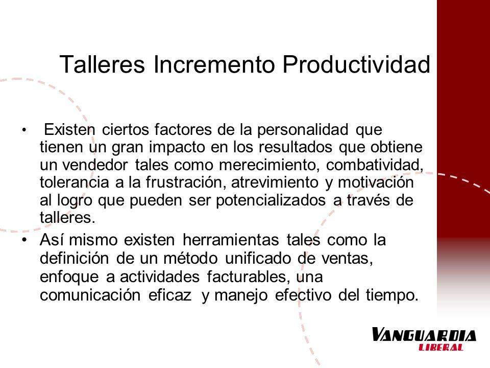 Talleres Incremento Productividad Existen ciertos factores de la personalidad que tienen un gran impacto en los resultados que obtiene un vendedor tal