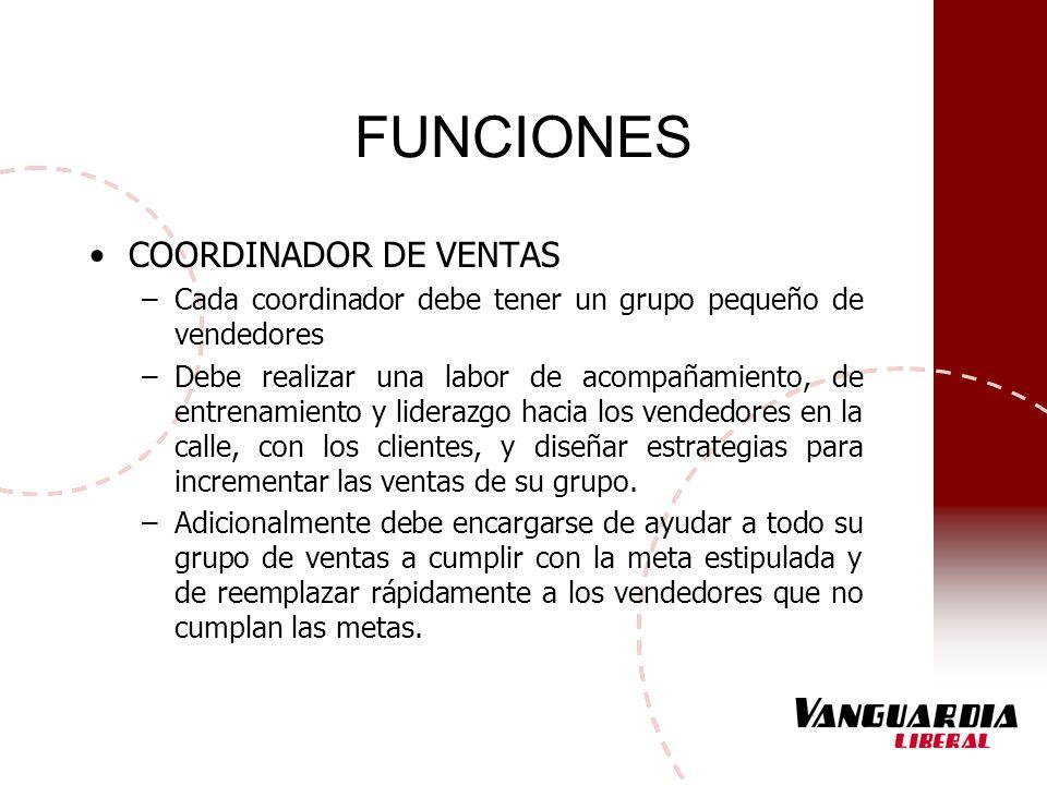 FUNCIONES COORDINADOR DE VENTAS –Cada coordinador debe tener un grupo pequeño de vendedores –Debe realizar una labor de acompañamiento, de entrenamien